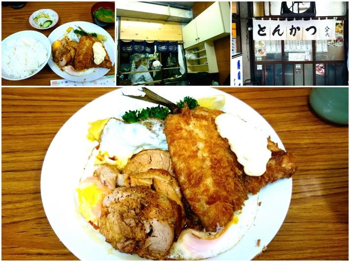 チャーシューエッグ定食+アジフライ